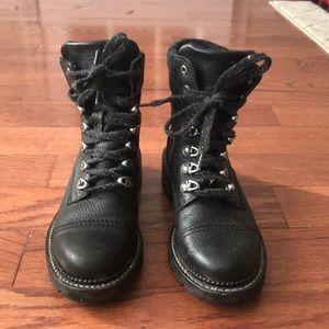 Black leather Frye combat boot